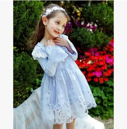 Wholesale Lace Necklace Child - Girls dress lace kids lace flabala knee length princess dress children pearl necklace flare sleeve party dress girl autumn clothing T4282