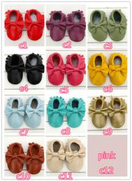 2019 zapato multicapa Bebé mocasines bebé moccs niñas arco moccs 100% Top Layer de cuero suave moccs botines de bebé niño zapatos B57 zapato multicapa baratos