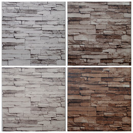 Wholesale Textured Wallpaper Room - Wholesale- Living Room Wallcovering Embossed Stone Brick Wallpaper Brown Grey Vinyl Textured 3D Wallpaper Brick Wall Background Decor