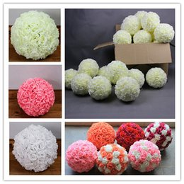 Wholesale Garden Decoration Products - 12 Inch Garden Wedding Flower Ball Pomander Kissing Pull Flower Decoration Products New Room Living Room Decoration Mantle Ornaments Flowe