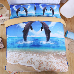 Wholesale Unique Printed Bedding - 3D Ocean Bedding Set Single Queen King Size Bed Sheet Bedlinen Cool Unique Dolphin Animal Series Fall Winter Thickness Cotton