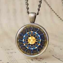 Wholesale Wholesale Mascot Charms - Classical Apollo Helios Jewelry Decorations 12 Constellation Symbol Charms Zodiac Sign Compass Birthday Mascot Male Female Necklace T1117