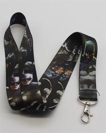 Wholesale Wholesale Superheros - New 20pcs Marvel DC Superheros Batman Lanyard Neck strap Black ID Card Badge Holder Key Chains