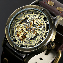 Wholesale Steampunk Mechanical Skeleton Watches - Wholesale- Vintage Bronze Men's Skeleton Watches Clock Male Leather Strap Antique Steampunk Casual Automatic Skeleton Mechanical Wristwatch