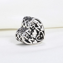 Wholesale Openwork Jewelry - Wholesale Real 925 Sterling Silver Not Plated BEST MOTHER OPENWORK HEART European Charms Beads Fit Pandora Snake Chain Bracelet DIY Jewelry