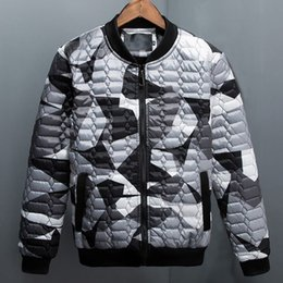 Wholesale camouflage winter coats for men - 2016 Winter Argyle Plaid Camouflage Thick Down Cotton Wadded padded Jacket for Men Women Slim Outerwear Man Parkas Coat