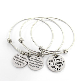 Wholesale Inspirational Charms - 3 Style Womens Stainless Steel Metal Bracelets Engraved Message Motivational Inspirational Words Round Charm Pendant Adjustable Bracelet