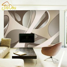 Wholesale Wood Space - Wholesale-High Quality Custom Photo Wallpaper European Modern 3D Stereoscopic Space Mural Papel De Parede 3D Wall Paper Solid Geometry
