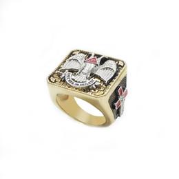 Wholesale Antique Anniversary Bands - 18K Gold Plated Masonic Scottish 32 rings fashion Mens antique mason championship finger ring jewelry multiple sizes