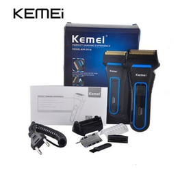 Wholesale Rechargeable Wet Dry Shaver - Kemei KM-2016 Men's Cordless Electric Razor Trimmer Rechargeable Shaver Reciprocating Double Groomer Wet and Dry Use