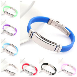 Wholesale Lettering Bracelet - Activities exhibition gifts can be lettering silicone stainless steel bracelet FB362 mix order 20 pieces a lot Slap & Snap Bracelets
