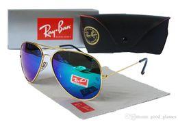 Wholesale Pilot White - 2018 New Vintage Aviator Sunglasses Pilot RAY 62mm Men Women UV400 Band P BEN Gafas Mirror Lenses Sun Glasses BANS with cases
