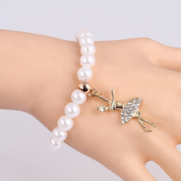 Wholesale Gold Ballerina - Wholesale-Fashion Simulated-pearl Bracelet Gold Plated Ballerina Pendants Bracelet & Bangles For Girls Free Shipping