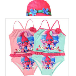 Wholesale Tutu Swimsuits For Girls - Summer 2017 Kids One-Piece with hat Swimsuit Trolls Caroon Swimming Clothes Girls Summer Tutu Skirt Swim Bikini For 3-8T