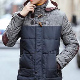 Wholesale Men S Dress Hats - Wholesale- 2016 Men Winter Large Size Jacket Hombre High Quality Classic Slim Dress Patchwork Thick Warm Coat Plus Size M-4XL 3 Colors