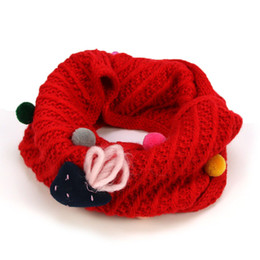 Wholesale Acrylic Circle Scarves - Unisex Children Knit Ring Scarf Star Kids Strawberr Design Twill Winter Warm Infinity Circle Loop Scarves For Boys Girls WJ8528
