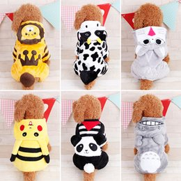 Wholesale Teddy Halloween Costume - Cute Cartoon Dog Clothes Lion Panda Cow Coral Fleece Four-Legged Dog Clothes Teddy Dog Costumes Pet Supplies 6 Sizes To Choose
