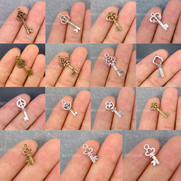 Wholesale Keys Filigree - 100pcs-Antique Bronze Tibetan Silver Plated 2 Sided Tiny Peace Key Skeleton Filigree Flower charms pendant DIY Jewelry