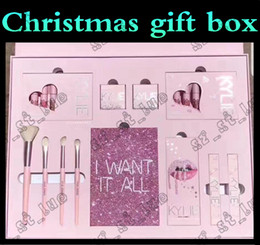 Wholesale Christmas Gifts Sets - 2PCS 2017 Christmas gift KYLIE I WANT IT ALL BIG BOX WITH THE BAG Kylie Jenner Cosmetics Birthday Collection Limited Edition Makeup Set