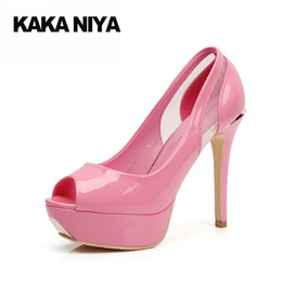 Wholesale Funky Shoes - 4 34 Small Size 2017 High Heels Thin Ultra 12cm 5 Inch Patent Leather Platform Pink Pumps Shoes Modern Prom Peep Toe Pumps Funky