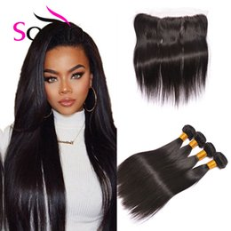 Wholesale Modern Hair Show - Ear To Ear 13x4 Lace Frontal Closure With Bundles Brazilian Virgin Hair Straight Modern Show hair Straight Lace frontal clsoure