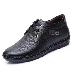 Wholesale Elevating Shoes - Wholesale- Men Invisible Elevator casual shoes black brown lace up men dress shoes height increase formal elevated shoes for men M011