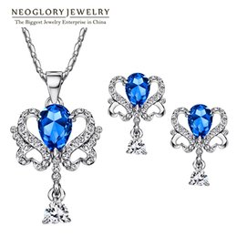 Wholesale Set Crystal Earring Neoglory - Neoglory Jewelry Sets With Earrings Necklace Blue Austrian Crystal Platinum Plated For Women 2016 New Birthday Gifts