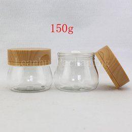 Wholesale Empty Cosmetic Pot Tin - Unique 150g X 12 Empty Cream Cosmetic Container With Wood Grain Lid Spatula Clear 5OZ Skin Care Cream Bottle Plastic Pot Jar Tin