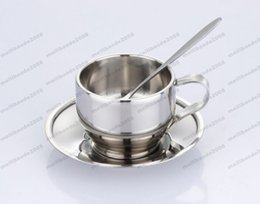 Wholesale Saucer Spoon Set - 2017 HOT 120ml high quality stainless steel coffee cup saucer and spoon set stainless steel double wall coffee mug MYY