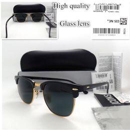 Wholesale Khaki Coat Women - Top quality Glass lens Brand Designer Fashion Men Women Plank frame Coating Sunglasses UV400 Sport Vintage Sun glasses With box