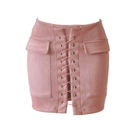 Wholesale Women Pencil Skirt White Color - Ladies Fashion Multicolor Bandage Sexy Short Skirt A Words SLim Chamois Fleece Winter For Women Pencil Dress Skirts