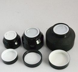 Wholesale Black Cosmetic Jars - New Design 100 x 15G 30G 50G Frost Glass Cream Jar With Black Lids white Seal Container Cosmetic Packaging