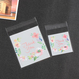 Wholesale Plastic Bags Crafts - 300pcs lot 4 Sizes Thank You Candy Cookie Bags Wedding Birthday Party Craft Self-adhesive Plastic Biscuit Packaging Gift Bag