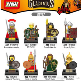 Wholesale Toy Warrior Knights - 8pcs lot x0137 Super Heroes Gladiatus figures Medieval Knights Rome Commander Elf Hunter Highland Warrior Building Blocks Toys