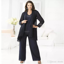 Wholesale Mother Bride Long Outfits - Plus Size Cheap Navy Blue Mother Of The Bride Pant Suits Elegant 3 Piece Chiffon Pant Suit 2018 Groom Mother Wedding Outfits Dress