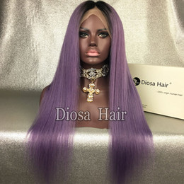 Wholesale Two Toned Lace Wig - Silky Straight 150 Density 1BTPurple Glueless Full Lace Wig Ombre Lace Front Wigs For Women With Baby Hair Two Tone