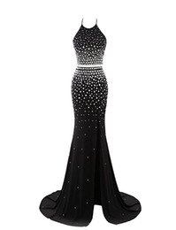 Wholesale Deco Brooch - Formal Evening Gowns Dresses 2017 Vestido Festa Longo Halter Sexy Open Back Crystals Mermaid Black Prom Dresses with Split