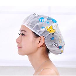 Wholesale- 2015 Women Ladies Clear Bath Spa Caps Elastic Waterproof Hats  Comfortable Lovely Cartoon Shower Caps Bathing Bathroom Products 9577fb111b3