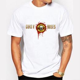 Wholesale 77 Cartoon - Wholesale- Guns N Roses T shirt men 2016 music printed casual tee shirt Brand Clothing Cartoon Skull Big Boy T-Shirt 77-10#