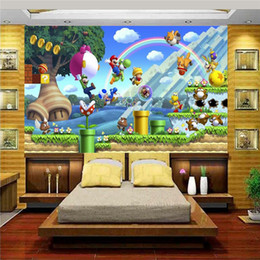 Wholesale Paintings Japan - 3d wallpaper photo wallpaper custom mural kids room super mario world trees painting sofa TV background wall non-woven sticker