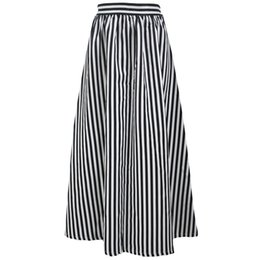 Wholesale New Skirts Denim Fashion - 2016 Time-limited Polyester S L M Striped Stripe Europe Station New Fashion Black-and-white Printing High Waisted Skirt 65018 All-match