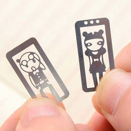 Wholesale Cute Metal Bookmark - High Quality 10pcs lot Mini Metal Bookmark Clips Cute Cartoon Animal Flower Cartoon Plated Sliver Bookmarks Stationery Gift Bookmark Free Sh