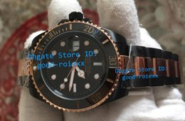 Wholesale Gold Mens Automatic - Luxury Mens Automatic 2813 Watch Men Sapphire Ceramic Black Pvd Gold Bracelet Dive Luminous Sport Calendar Watches Men's AAA Wristwatches