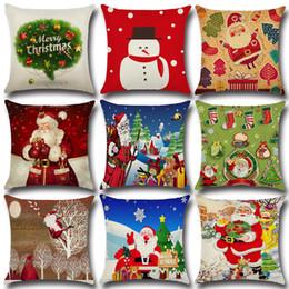 "Wholesale Cushion Covers 18 - Cushion Cover 18"" Merry Christmas Series Santa Claus Christmas Tree Snowman Printing Linen Throw Pillowcase New Year Gifts c236"