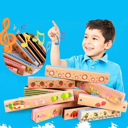 Wholesale Toy Harmonicas - 1 PC 16 24 Hole Wooden Harmonica Kids Musical Instrument Educational Craft Toy Natural Beech Baby Learning Toys Children Gift