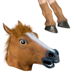 Wholesale Horse Hooves - Wholesale-Halloween Props Adult Horse Head Masks and Horse Hooves Gloves Animal Latex Masks Birthday Party Rubber Silicone Face Mask