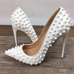 Wholesale Leather Dress 12 - Fashion Luxury Brand Red Bottom High Heels White Rivets Patent Leather High-heeled Women Shallow Mouth High Heel Pumps 12 10 8cm size 34-45