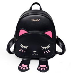 Wholesale Back Bags For Girls - Cat bag Students Pu backpack for teenagers girls Back Pack School Backpacks Funny Preppy Leather Shoulder Travel bag mochila