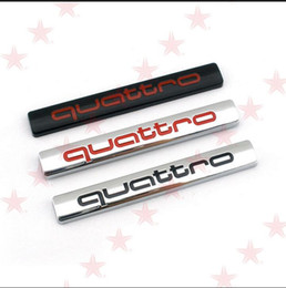 Wholesale Audi Badge Black - 10pcs New Car Styling Quattro Rear Boot Badge 3D Black Silver metal Sticker badge emblem