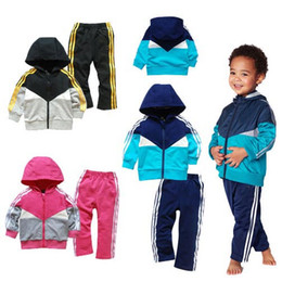 Wholesale Summer Hooded Suit - Boys Clothing Sets 2017 Spring Autumn Kids sport suit long sleeves hooded jacket pants children girls jogging tracksuits casual clothes